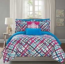 Abstract 7 Piece Twin Bed In a Bag Comforter Set