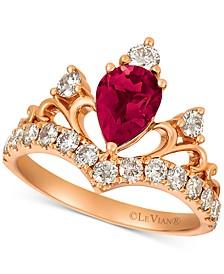 Rhodolite Garnet (1 ct. t.w.) & Diamond (3/4 ct. t.w.) Tiara Ring in 14k Rose Gold