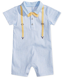 First Impressions Baby Boys Bow Tie & Suspenders Romper, Created for Macy's