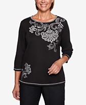 21b5267c6fd Alfred Dunner Grand Boulevard Embroidered 3 4-Sleeve Top