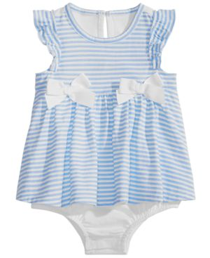 FIRST IMPRESSIONS   First Impressions Baby Girls Striped Skirted Romper, Created for Macy's   Goxip