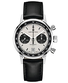 Men's Swiss Automatic Chronograph Intra-Matic Black Leather Strap Watch 40mm