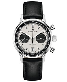 Hamilton Men's Swiss Automatic Chronograph Intra-Matic Black Leather Strap Watch 40mm