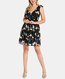 Adrianna Papell Embroidered-Sequin Fit & Flare Dress