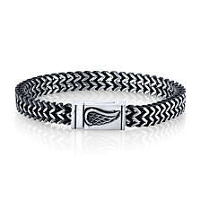 """He Rocks Chain Bracelet with Wing Clasp in Stainless Steel, 8.5"""""""