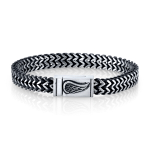 He Rocks Chain Bracelet with Wing Clasp in Stainless Steel, 8.5