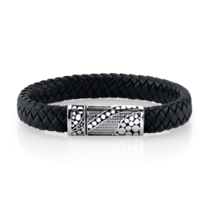 He Rocks Black Leather with Oxidized Design Stainless Steel Clasp Bracelet, 9