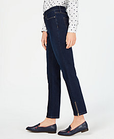 Charter Club Zipper-Cuff Dark Wash Skinny Jeans, Created for Macy's