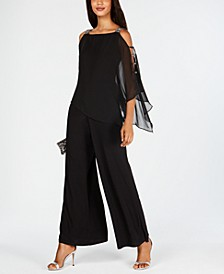 Petite Cold-Shoulder Rhinestone Jumpsuit