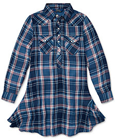 Polo Ralph Lauren Big Girls Western Plaid Cotton Shirtdress