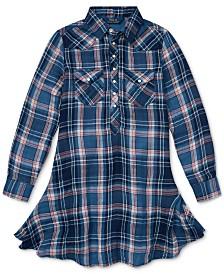 Polo Ralph Lauren Big Girls Western Plaid Cotton Shirtdress