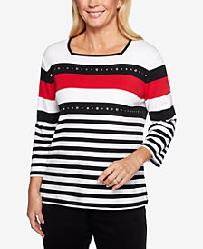 Alfred Dunner Petite Grand Boulevard Striped Square-Neck Top