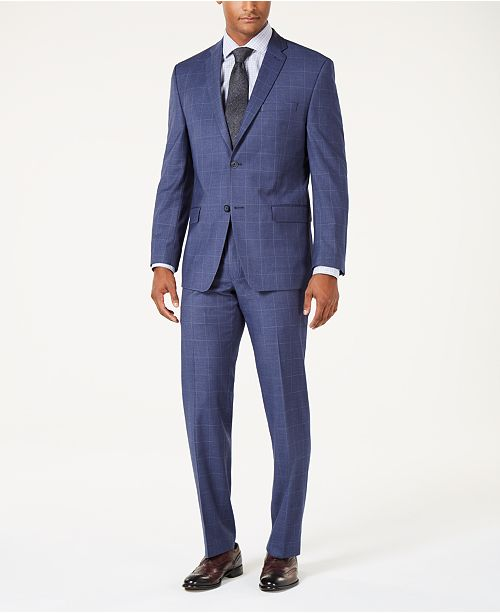 Marc New York by Andrew Marc Men's Modern-Fit Stretch Denim Blue Windowpane Suit