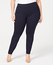 Anne Klein Plus Size Checked Ankle Leggings