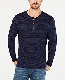 Club Room Men's Striped Speckled Henley, Created for Macy's