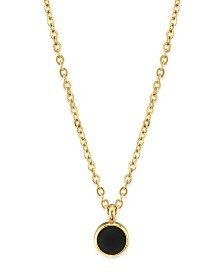 """2028 14K Gold Dipped Small Round Enamel Necklace 16"""""""