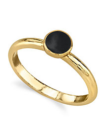 2028 14K Gold Dipped Small Round Enamel Ring