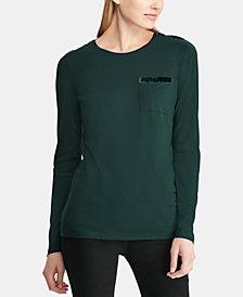 Lauren Ralph Lauren Velvet-Trim T-Shirt