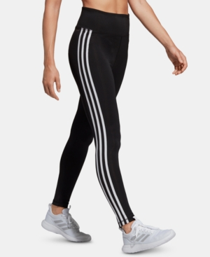 ADIDAS ORIGINALS ADIDAS WOMEN'S DESIGN 2 MOVE 3-STRIPE HIGH-RISE LEGGINGS