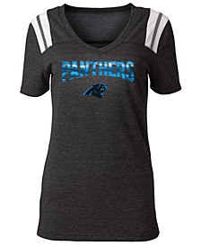 Women's Carolina Panthers Shoulder Stripe Foil T-Shirt