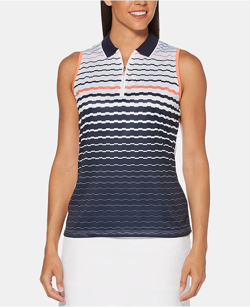 PGA TOUR Printed Sleeveless Golf Polo
