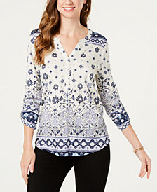 Style & Co Petite Split Neck 3/4-Sleeve Printed Shirt, Created for Macy's