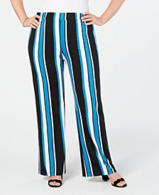 NY Collection Plus & Petite Plus Striped Soft Pants