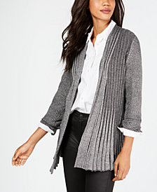NY Collection Petite Open-Front Textured Marled Cardigan