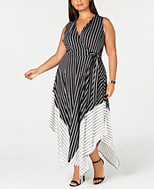 Love Squared Trendy Plus Size Striped Handkerchief-Hem Dress