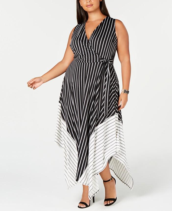 Love Squared Trendy Plus Size Striped Handkerchief-Hem ...