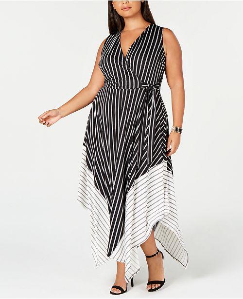 Trendy Plus Size Striped Handkerchief-Hem Dress