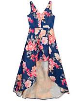 Rare Editions Big Girls Floral-Print Jacquard High-Low Dress 3f6cb97eb