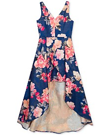 Rare Editions Big Girls Floral-Print Jacquard High-Low Dress