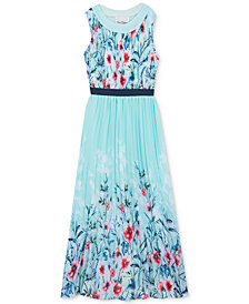 Rare Editions Big Girls Floral-Print Pleated Chiffon Maxi Dress
