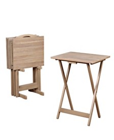 Gray Acacia 4-Piece TV Tray Table Set with Storage Stand
