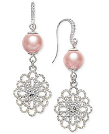 Charter Club Silver-Tone Crystal Filigree & Imitation Pearl Drop Earrings, Created for Macy's