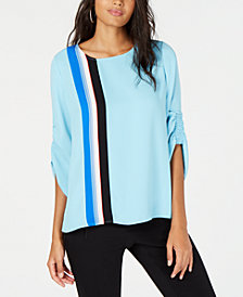 Alfani Striped Smocked-Sleeve Blouse, Created for Macy's