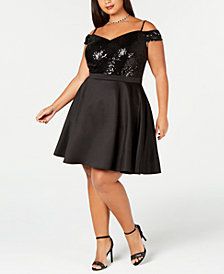 Morgan & Company Plus Size Sequined Off-The-Shoulder Dress