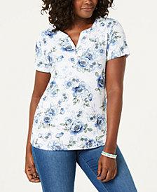 20a01f587bb Karen Scott Floral-Print Short-Sleeve Henley Top