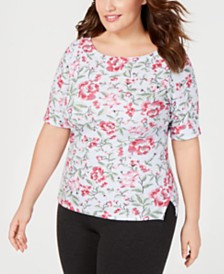 Karen Scott Plus Size Printed Boat-Neck Top, Created for Macy's