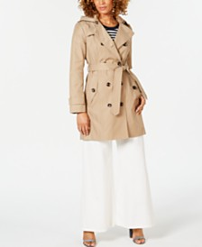London Fog Petite Hooded Double-Breasted Water-Repellent Trench Coat