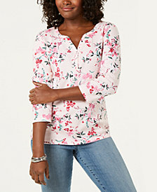 Karen Scott Floral-Print 3/4-Sleeve Henley Top, Created for Macy's