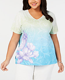 Alfred Dunner Plus Size Butterfly Effect Printed Top