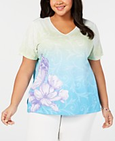 3e59ba95ed2 Alfred Dunner Plus Size Butterfly Effect Printed Top
