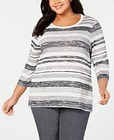 Alfred Dunner Plus Size Stocking Stuffers Spacedyed Sweater