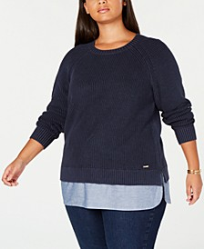 Plus Size Cotton Layered-Look Sweater, Created for Macy's