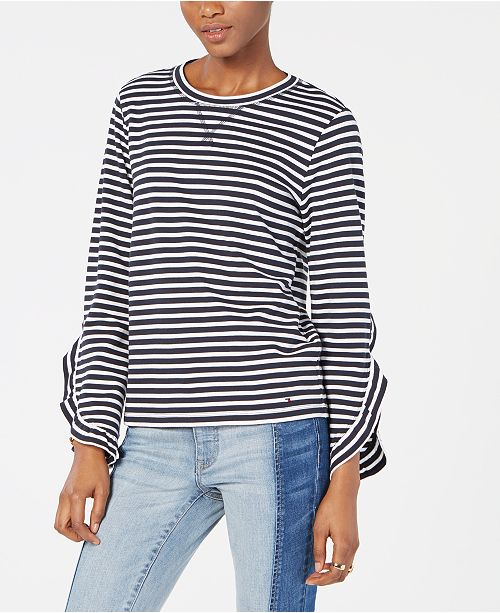 Tommy Hilfiger Striped Ruffle-Sleeve T-Shirt, Created for Macy's