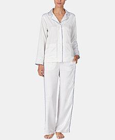 Lauren Ralph Lauren Contrast-Trimmed Printed Satin Pajama Set