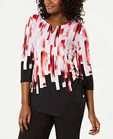JM Collection Petite Printed Side-Tie Top, Created for Macy's