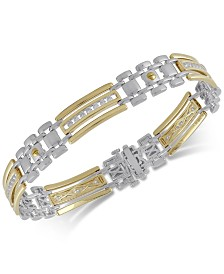 Diamond Men's Two-Tone Link Bracelet (1 ct. t.w.) in Sterling Silver and 18k Gold-Plated Sterling Silver